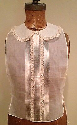 Antique VictorIan Lace Ruffle Chemisette Undergarment Peter Pan Collar