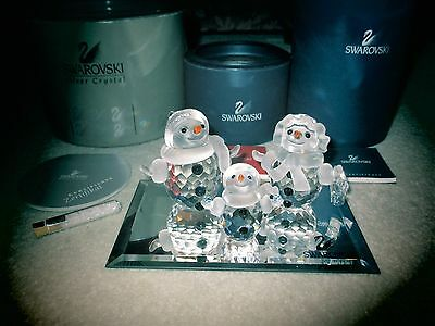 Swarovski Crystal SNOWMAN, WOMAN & LITTLE Figurines W/ SCS Mirror MIB ERV. $420