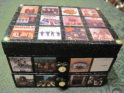 The Beatles US Album Covers Painted & Decoupaged Jewelry Trinket Box