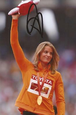 ATHLETICS: DAFNE SCHIPPERS SIGNED 6x4 MEDAL ACTION PHOTO+COA *RIO 2016*
