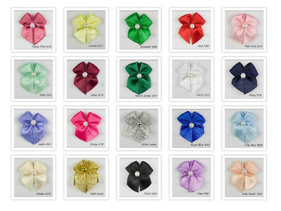 Satin Ribbon Bows With Pearl Bead Choice of  22 Colours Packet Sizes 15,50 & 100