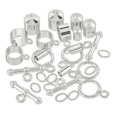 Kumihimo Barrel End Findings Assorted Pack Silver Plated (J57/1)