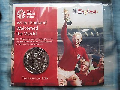 2016 Alderney £5 pound coin 1966 FIFA World Cup England BUNC by Royal Mint pack
