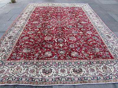 Old Shabby Chic Hand Made Traditional Persian Oriental Wool Red Carpet 375x290cm