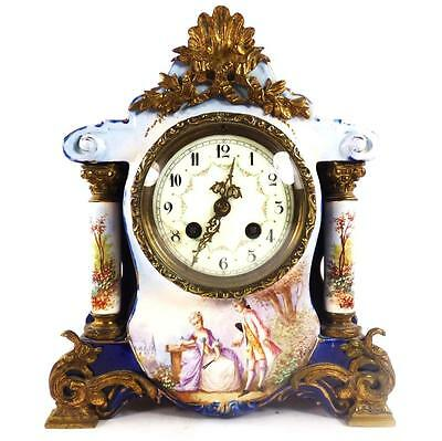 Antique French Porcelain Hand Painted Sevres Style Clock Signed Petit