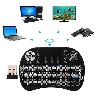 i8 Mini Wireless Keyboard Mouse Backlight Touchpad For Xbox 360 PS3 HTPC AC397