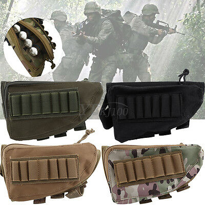 Tactical Hunting Rifle Shotgun Shell Buttstock Rest Ammo Shell Mag Pouch Holder
