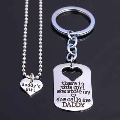 DIY 2PCs Keyring Keychain Pendant Necklace Set For Daddy Father's Day Gifts New