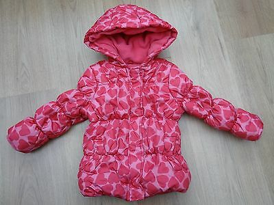 Girls Mothercare Age 2-3 Years Pink Winter Coat With Loveheart Print