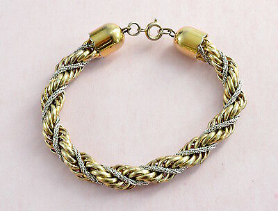 Vintage 1980's gold and silver tone twisted rope style bracelet