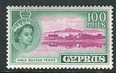 CYPRUS;  1955 early QEII issue fine Mint hinged 100m. value