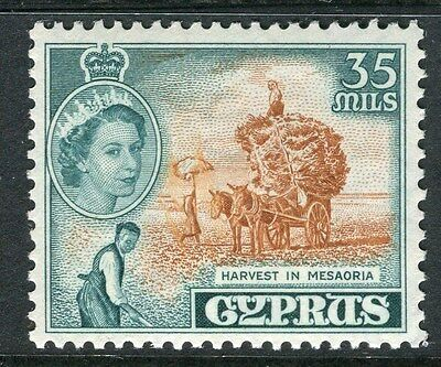 CYPRUS;  1955 early QEII issue fine Mint hinged 35m. value