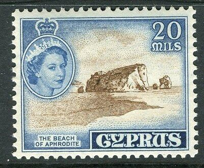 CYPRUS;  1955 early QEII issue fine Mint hinged 20m. value