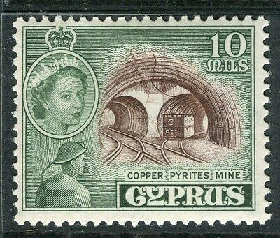 CYPRUS;  1955 early QEII issue fine Mint hinged 10m. value