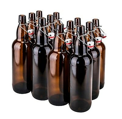 32 oz. EZ Cap Vintage Amber Home Brewing Glass Beer Bottles, Case of 12