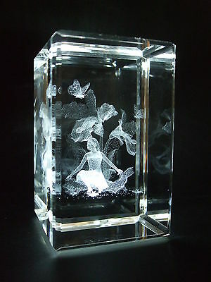 Iris Flower Fairy Laser 3605 Crystal Paperweight