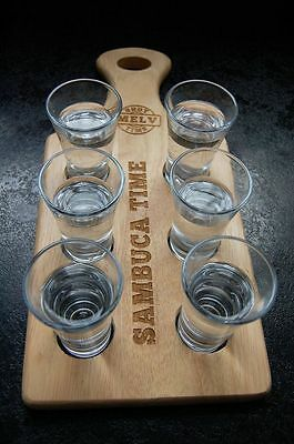 Personalised Shot paddle, tray/board c/w glasses xmas/new year/birthdays