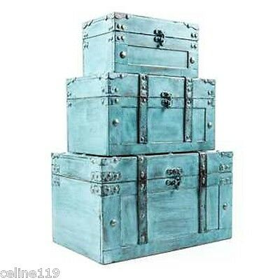 Antique Distressed Turquoise Storage Trunk Box Set  NEW X3 .Shabby Chic Decor