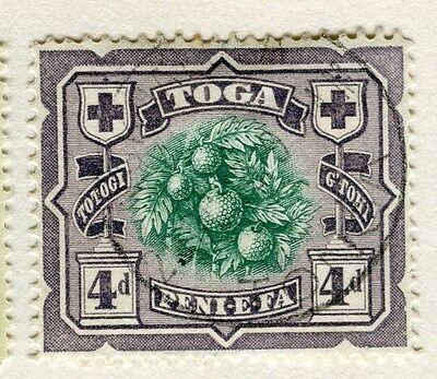 TONGA;  1897 early pictorial issue fine used 4d. value