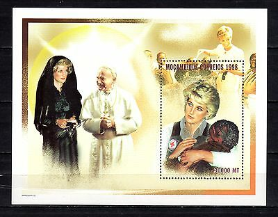 MOZAMBIQUE STAMPS- Pope John Paul II, meeting Diana, block, 1998