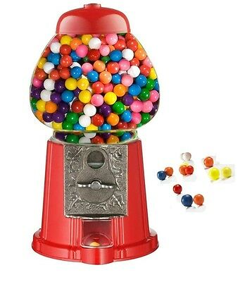 Red Mini Gumball Dispenser Machine Toy With Bubble Gum Party Bag Coin Operated