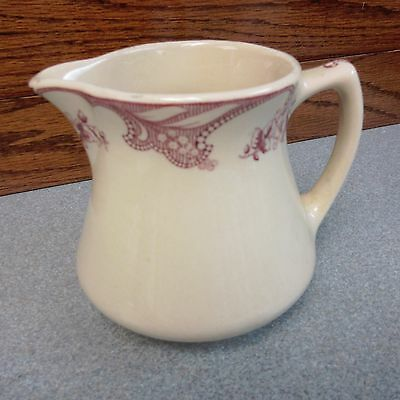 Shenango China : Inca Ware : Floral Design Creamer or Syrup : Maroon on Beige