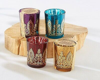 48 Assorted Jewel Tone Mercury Glass Indian Henna in Gold Glass Votive Candles