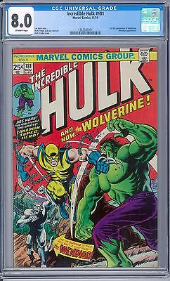 Incredible Hulk #181 CGC 8.0 (OW) 1st Appearance of Wolverine X-Men