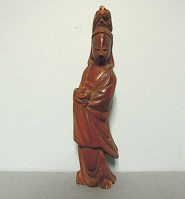 """Kwan-yin Antique Chinese Rosewood Carving 4-3/4"""""""
