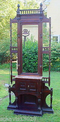 Mansion Size Hall Tree Mirror Fret Work Antique Marble Top Cabinet Doors 9 Feet