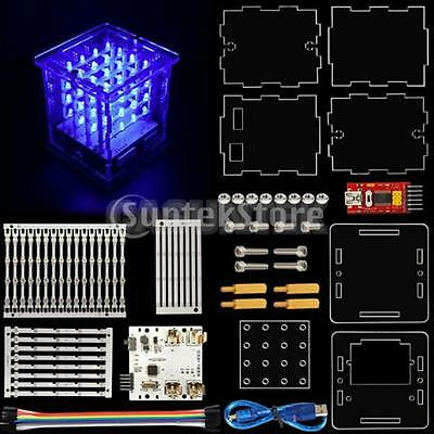 4*4*4 LED Cube Light Kit w/ Plane PCB Strips with LEDs Board for Arduino