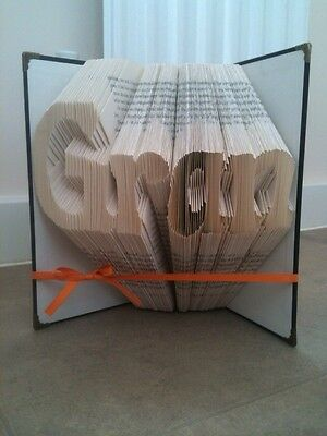Folded Book Art ANY NAME OR WORD. Personalised. See Photos