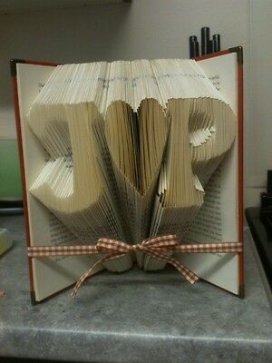 Folded Book Art. Wedding. Love. Personalised. Initials And Heart. Gift.