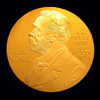 ALFRED NOBEL 1oz Gold Plated Commemorative Coin / Nobel Prize Winners / Awards