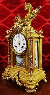 Superb antique 19th c French gilt ormolu bronze & Sevres porcelain mantel clock