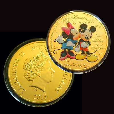 1 Oz 24k Gold Plated Coin 2015 Disney Crazy In Love Mickey Mouse & Minnie