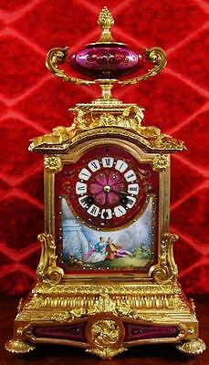 Superb antique 1850's French gilt ormolu bronze & Sevres porcelain mantel clock