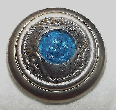 """Extra Large Old Victorian Teal Blue Jeweled *Gay 90's Type"""" Brass Button #J15"""
