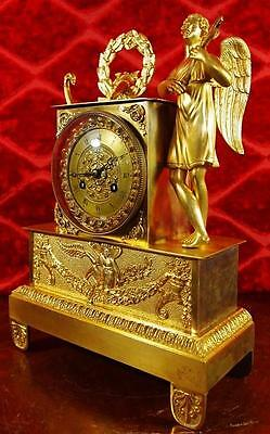 Early 1800's French Empire gilt ormolu bronze classical Figural Mantle Clock