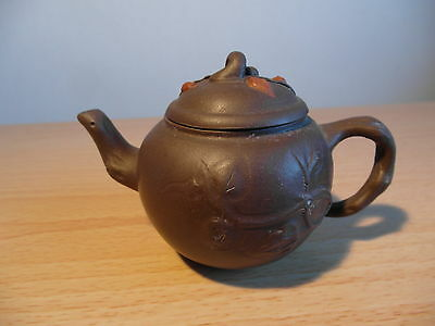 Chinese Miniature Yixing Leaf Decorated Teapot With Seal Mark