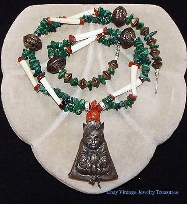 Vintage Antique Chinese Carnelian Malachite Sterling Silver Pendant Necklace