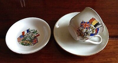 Small cup & saucer & pin dish with flags re World War One.