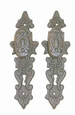 NEW~Set of 2 CAST IRON Decorative Ornate Oval Door Knobs Farmhouse Gothic