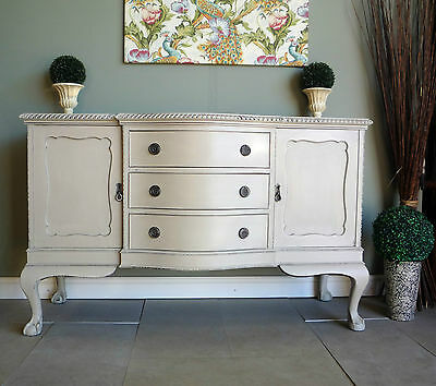 Stunning Antique Carved Sideboard Dresser Cabinet Ball & Claw Feet Shabby Chic