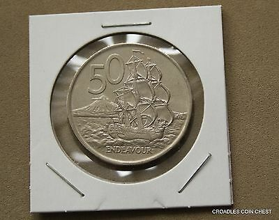 "1975 NEW ZEALAND 50 cent  CIRCULATED NICE CONDITION  ""ENDEAVOUR"" #SVK30"