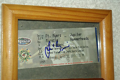 JOSE BERRIOS Signed 2013 Ft Myers Miracle Ticket stub in 5x7 desktop frame