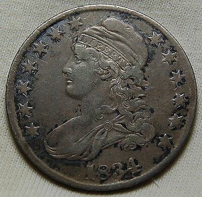 1834 CAPPED BUST HALF DOLLAR ORIGINAL UNCLEANED SURFACES VF to XF #628