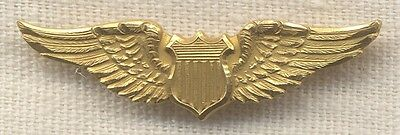 Early 1920's US Air Service (USAS) 10K Gold Instructor Cap Wing by Robbins