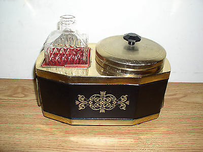 Vintage Portable Liquor And Ice Mini Bar Music Box With Decanter And Ice Bucket