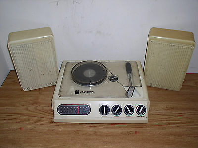 Vintage Emerson Ms-1000 Am/fm Radio And Phonograph Stereo With Speakers